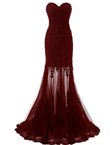 Embroidered Strapless Gown - Sarahbridal Women's Applique Embroidered Prom Party Dresses Sweetheart Tulle Mermiad Evening Gowns Burgundy US4
