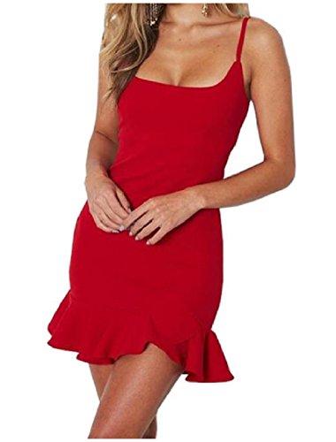 Coolred Rosso U Balza Metà Vita Serbatoio Collare donne Sexy Di Estate Abito Bodycon Estate 7O78wrq