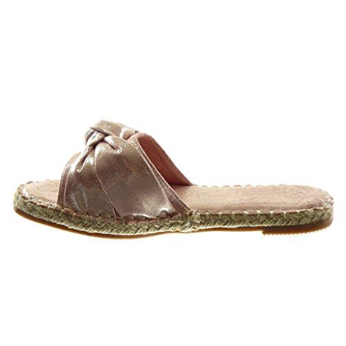 Brillantes Tac Cuerda Mujer Mules Zapatillas Sandalias Nodo Angkorly Slip Moda On qfz4R