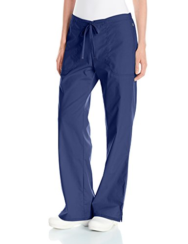 - Code Happy Women's Bliss Mid-Rise Moderate Flare Drawstring Pant with Certainty, Navy, Large Petite