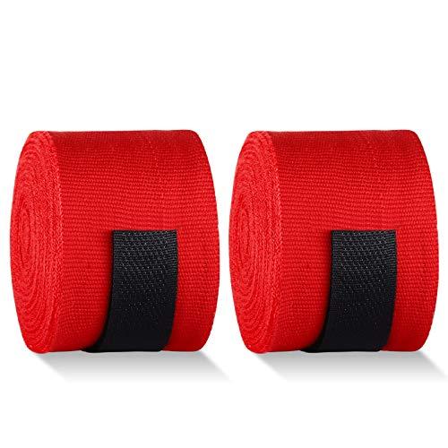 Taope Fasce Boxe Bendaggi Elastiche 4.5M, Bende Sportivo per Le Mani   Hook n 'Loop   Protezione per Mani Polsi Pugilato Bendaggi MMA Arti Marziali e Allenamento Sottoguanti Sparring Muay Thai -Rosso