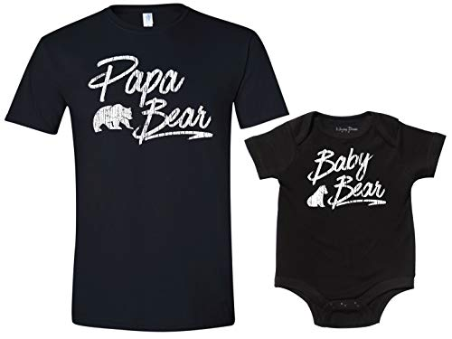 Texas Tees Papa Bear Baby Bear Onsie Baby Shower Gift,Black Papa Bear, Black Baby Bear Set,Mens (XX-Large) & 0-3 Month -