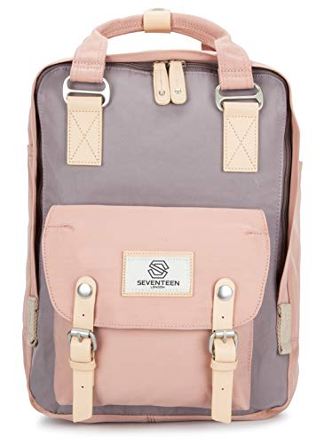 SEVENTEEN LONDON - Marylebone Classic Unisex Backpack for College School Travel Luggage Bag (Pink with Gray, Standard)