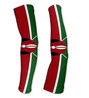 Kenya Flag Compression Arm Sleeves UV Protection Unisex - Walking - Cycling - Running - Golf - Baseball - Basketball - Size XS