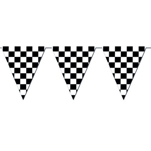 Beistle 50701 Checkered Outdoor Pennant Banner, 17 by 120-Feet