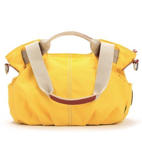 Yellow Hobo Handbag (Eshow Women's Canvas Shoulder Crossbody Bag Daily Purse Top Handle Tote Hobo Shoulder Bag Casual Shopping Handbag,Yellow)