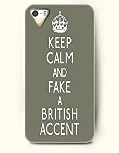 Keep Calm And Fake A British Accent - - iPhone 5 / 5s Hard Back Plastic Grey