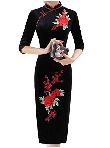 Bodycon Velour Classic Pencil 6 Dress Size Plus Women Printed Comfy Long wBPqYxII