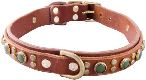 "Paco Collars - ""Medium Jojo Deluxe"" - Handmade Leather Medium Dog Collar - 1""Wide - Silver - Black 12""-14"""