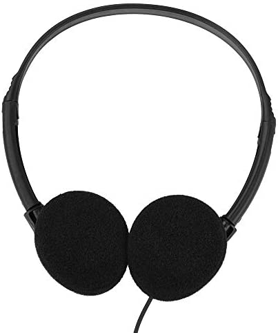 Wholesale Bulk Headphones Earbuds Earphones Over The Head Headphones in Bulk for Classroom, Airplane, Hospital, Students,Kids and Adults 30Pack Individually Bagged Black