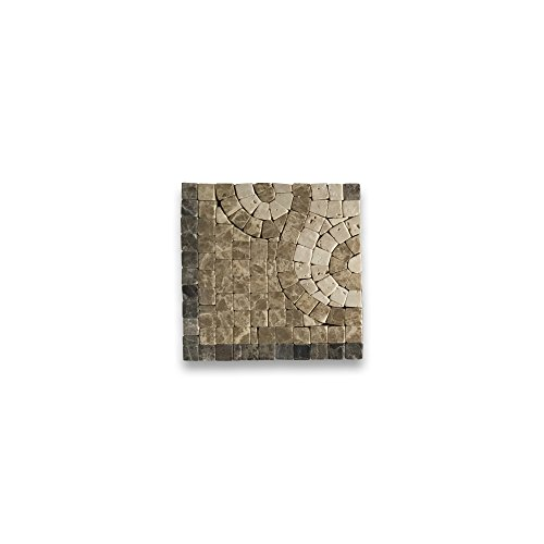 (Surf Emperador 4x4 Marble Mosaic Border Corner Tile Tumbled)