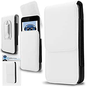 White PREMIUM PU Leather Vertical Executive Side Pouch Case Cover Holster with Belt Loop Clip and Magnetic Closure for Samsung S720C ProClaim