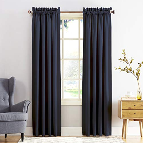 "Sun Zero Barrow Energy Efficient Rod Pocket Curtain Panel, 54"" x 95"", Navy Blue"