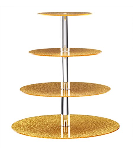 Sumerflos Brilliant Gold Cupcake Stand-Gold Dessert Display Stand-Gold Cupcake Tower-Gold Pastry Serving Platter-Gold Cake Stand for 30-40 Cupcakes (4-Tier-Round-Gold)