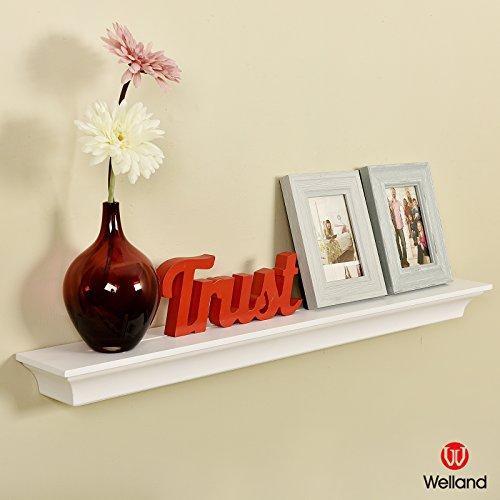 Espresso L-shape Storage Shelf (WELLAND Classic Wall Floating Shelf Crown Molding Mantle Display Ledge Shelves, 36-Inch, White)