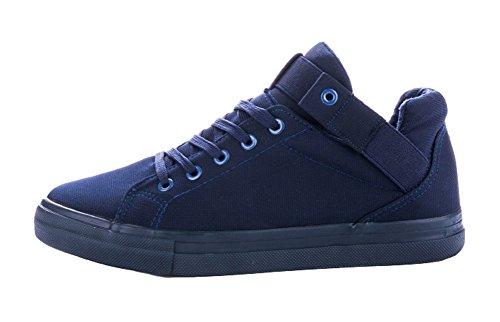 Aisun Mens Casual Sportieve Ronde Neus Hoge Top Verborgen Lift Lace Up Canvas Sneakers Schoenen Blauw