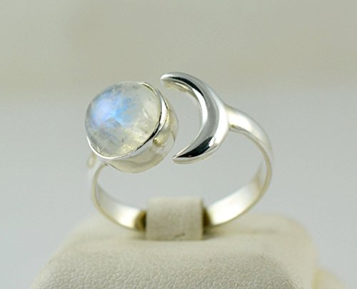 Rainbow Moonstone Silver Crescent Moon Ring, Rainbow Moonstone, Moonstone Crescent Moon Ring, 925 Sterling Silver, Silver Crescent Moon Ring, Handmade Jewelry, Size 4-13 US (Moons 9 Jewelry)