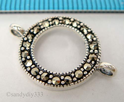 FidgetFidget 1x Sterling Silver Marcasite Round Chandelier Necklace Connector #1808
