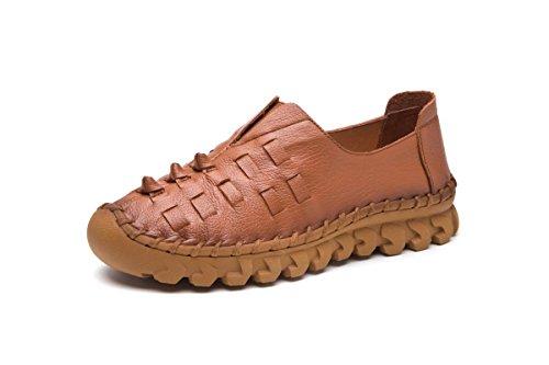 Señoras Mujer Nuevo Pisos Zapatos Únicos Ocio Moda Bajo Tacón Ronda cabeza Piel Genuina Antideslizante Respirable Preparación Bombas Otoño Primavera Trabajo de fiesta Brown