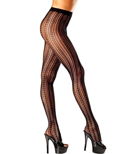 Be Wicked BW689B Women's Vertical Stripe Fishnet Pantyhose - One Size - Black