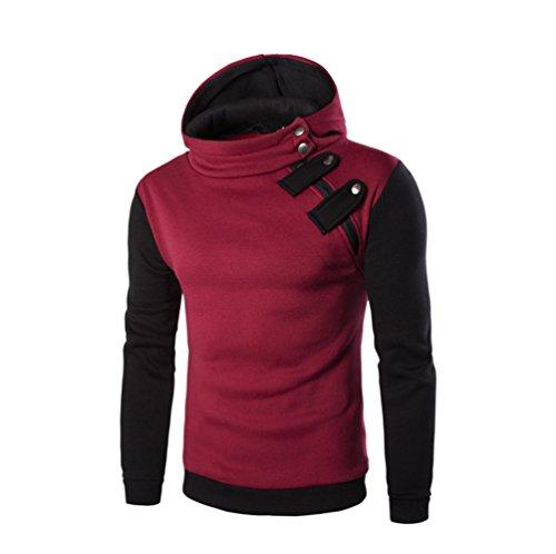 iYBUIA Personality Men's Long Sleeve Button Hoodie Hooded Sweatshirt Tops Jacket Coat Outwear(Red,M) ()