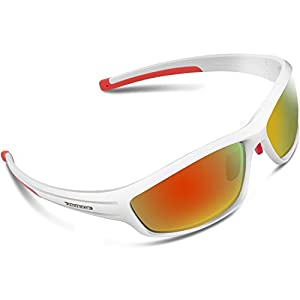 Torege Polarized Sports Sunglasses For Man Women Cycling Running Fishing Golf TR90 Unbreakable Frame TR034 (White&Red tips&Red lens)