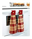 Sets of 2 Hanging Country Kitchen Towels Burgundy