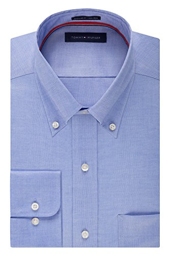 Tommy Hilfiger Men's Non Iron Regular Fit Solid Button Down Collar Dress Shirt, Blue, 16.5