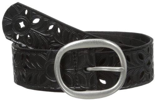 Fossil Women's Floral Perforated Belt, Black, Medium