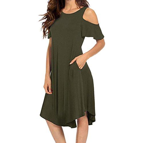❤️ Vestido a Media Pierna con Hombros Descubiertos para Mujer,Vestido de Oscilación de Manga Corta con Bolsillos Absolute Verde
