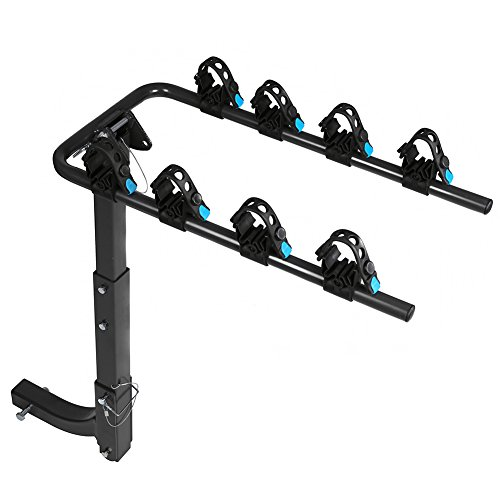 IKURAM 4 Bike Rack Bicycle Carrier Racks Hitch Mount Double Foldable Rack for Cars, Trucks, SUV's and minivans with a 2