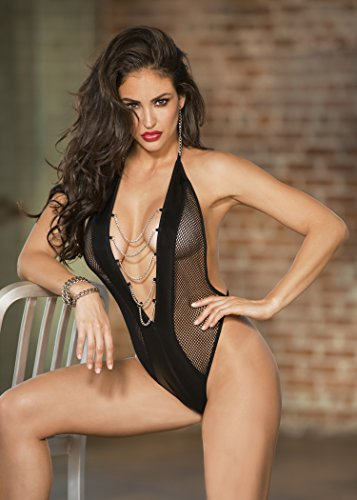 Lingerie Shirley Set (Fishnet and Pleather Teddy With Chains - Black - One Size)