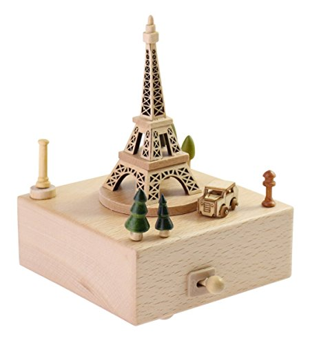 Delightful Quality Wooden Musical Box Featuring Iconic Eiffel Tower with Small Moving Magnetic Car   Plays ''Encounter'' Song by JustNile (Image #1)