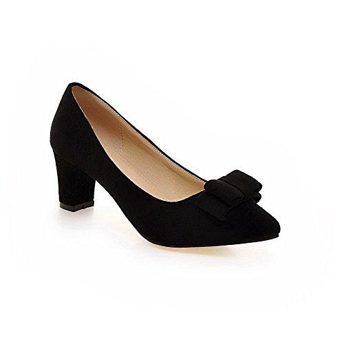 AgooLar Damen Rein Mattglasbirne Mittler Absatz Ziehen auf Spitz Zehe Pumps Schuhe, Schwarz, 42