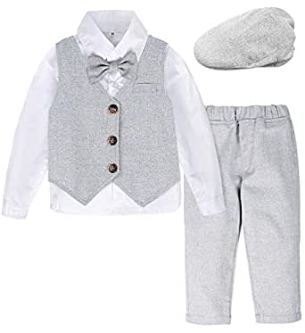 A&J DESIGN Baby Boys Gentleman Outfit Formal Set with Berets Hat (Light Gray, 12-18 Months)