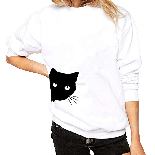 Zakcate Womens Long Sleeve Cat Print Sweatshirt Pullover Casual Cute T-Shirts Tops Blouse Tops White (Cute Winter Sayings For A Bulletin Board)