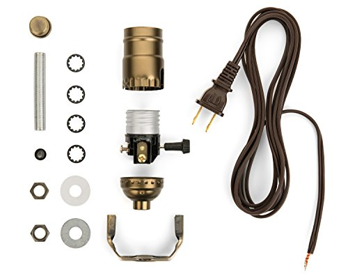 I Like That Lamp Base Socket Kit Electrical Wiring Set for Making, Repairing & Repurposing Lamps Antique Brass Socket with a Long Brown Cord ()
