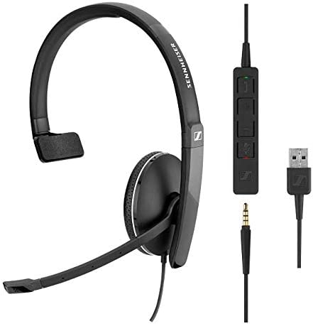 Sennheiser SC 135 USB (508316) - Single-Sided (Monaural) Headset for Business Professionals |HD Stereo Sound Noise-Canceling Microphone USB Connector (Black)