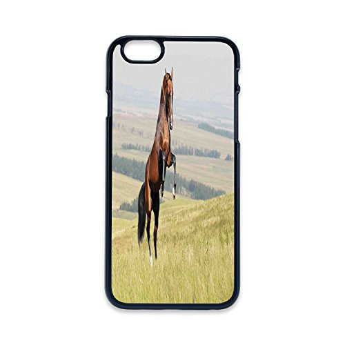 Phone Case Compatible with iPhone6 iPhone6s Black Edge 2D Print,Horses,Bay Akhal Teke Horse Stallion Rearing on The Field Noble Mammal Outdoors Pastoral,Green Brown,Hard Plastic Phone Case