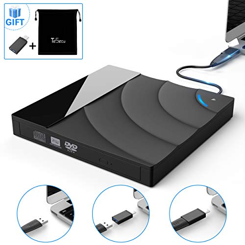 External USB 3.0 CD DVD Portable Drive,Tesecu Ultra-Thin Touch Control CD DVD Burner High Speed Data Transfer for PC Laptop Desktop MacBook Windows XP/Win 7/Win 8/Win10/Vista/Linux/Mac OS and More