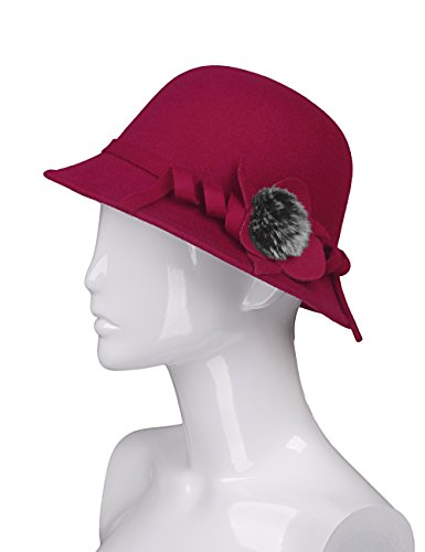 AURORA Vintage Spring Bucket Felt Hat for Women with Satin Flower,Rose Red Cloche,One (Felt Hat Design)
