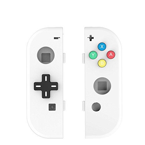 BASSTOP NS Joycon Handheld Controller Housing with D-Pad Button DIY Replacement Shell Case for Nintendo Switch Joy-Con (L/R) Without Electronics (Joycon D-Pad-White)