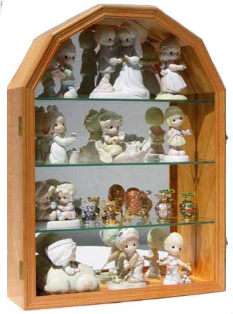 (Collector Display Case Wall Curio Cabinet Figurine Display Case (Oak))