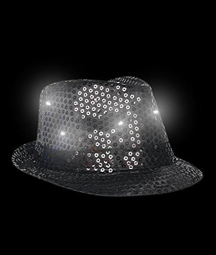 Fun Central O748 Black, LED Flashing Sequin Fedora Hat, Light Up Sequin Fedora Hat, Flashing Sequin Fedora Hat, LED Fedora Hats for Women -