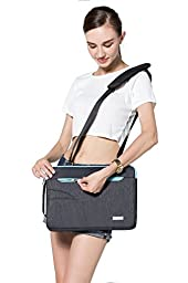 Mosiso Polyester Fabric Sleeve Case Cover Laptop Shoulder Briefcase Bag for 14 Inch Ultrabook Netbook Tablet, Black&Hot Blue
