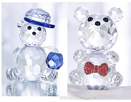 Qf 2pcs Small Crystal Bear Figurine Animal Glass Crystal Ornament Collectibles Gift