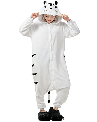 Lava-ring Adult Cosplay Costume White Tiger Animal Party Pyjamas L