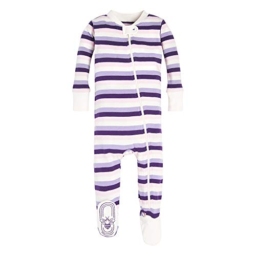 Baby Girl Footed Sleeper - Burt's Bees Baby Baby Girls Pajamas, Zip Front Non-Slip Footed Sleeper PJs, 100% Organic Cotton, Aubergine Stripe, 6-9 Months