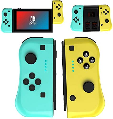 JAMSWALL Joy Con Controller for Nintendo Switch, Wireless Controllers for Nintendo Switch/Switch Lite, Replacement for Switch Joy Pad, Motion Control & Dual Shock, Yellow and Green with Grip