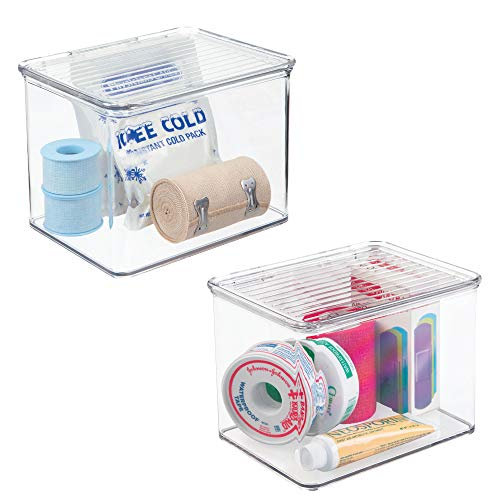 mDesign Stackable Storage Bins with Hinged Lids: Organizer for Vitamins, Supplements, Serums, Essential Oils, Medical Supplies, First Aid Supplies – BPA Free, Food Safe - 3 High, Pack of 2, Clear